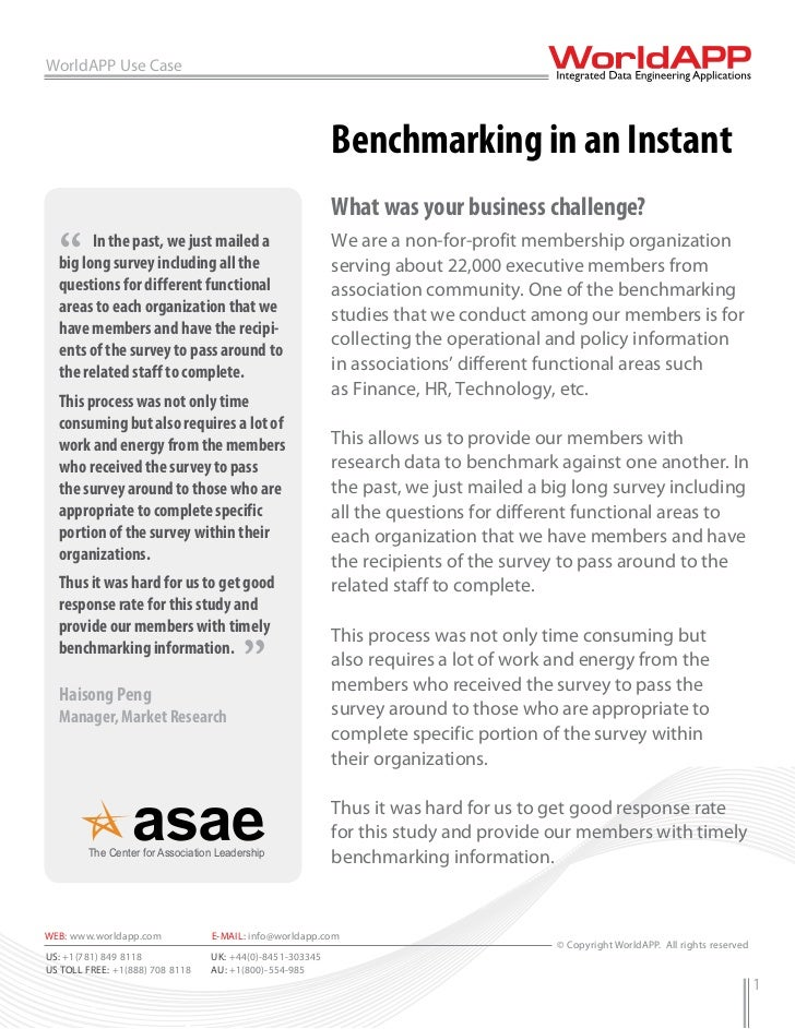 WorldAPP Use Case                                                          Benchmarking in an Instant                     ...