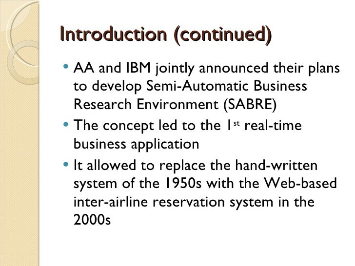 The american airlines sabre reservation system essay
