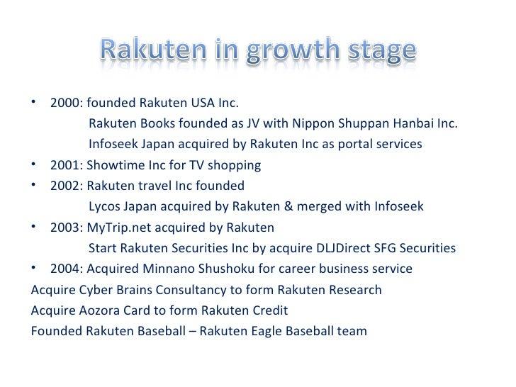 <ul><li>2000: founded Rakuten USA Inc. </li></ul><ul><ul><ul><ul><li>Rakuten Books founded as JV with Nippon Shuppan Hanba...