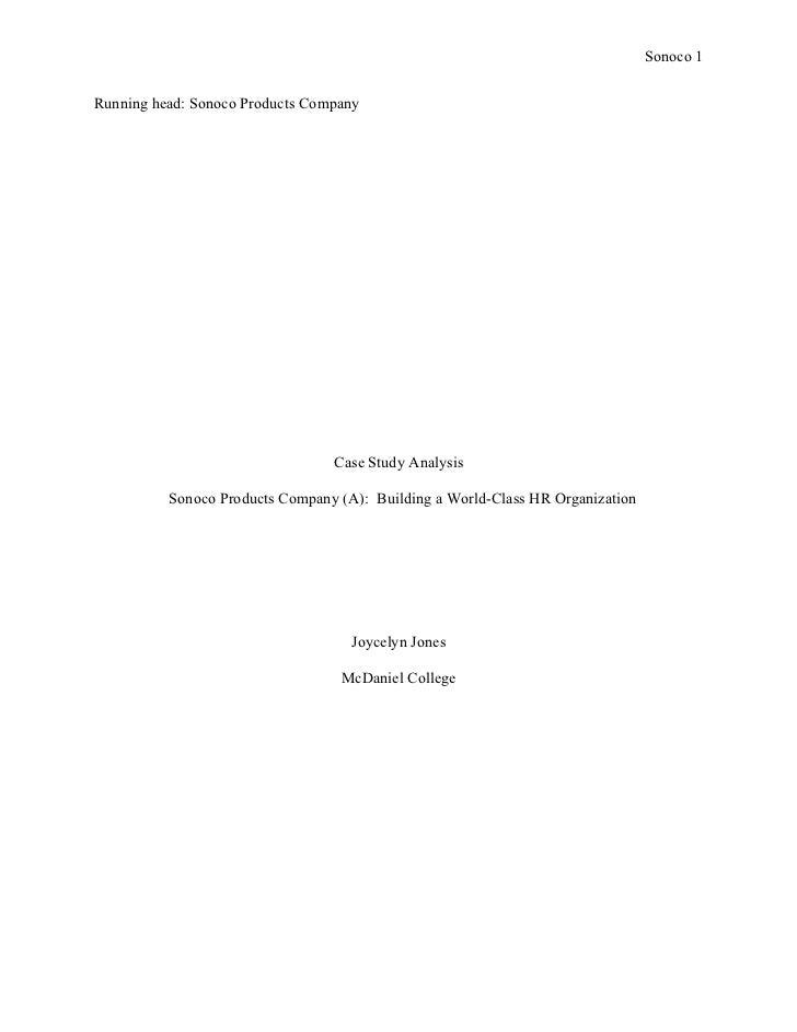 Sonoco 1Running head: Sonoco Products Company                                 Case Study Analysis          Sonoco Products...