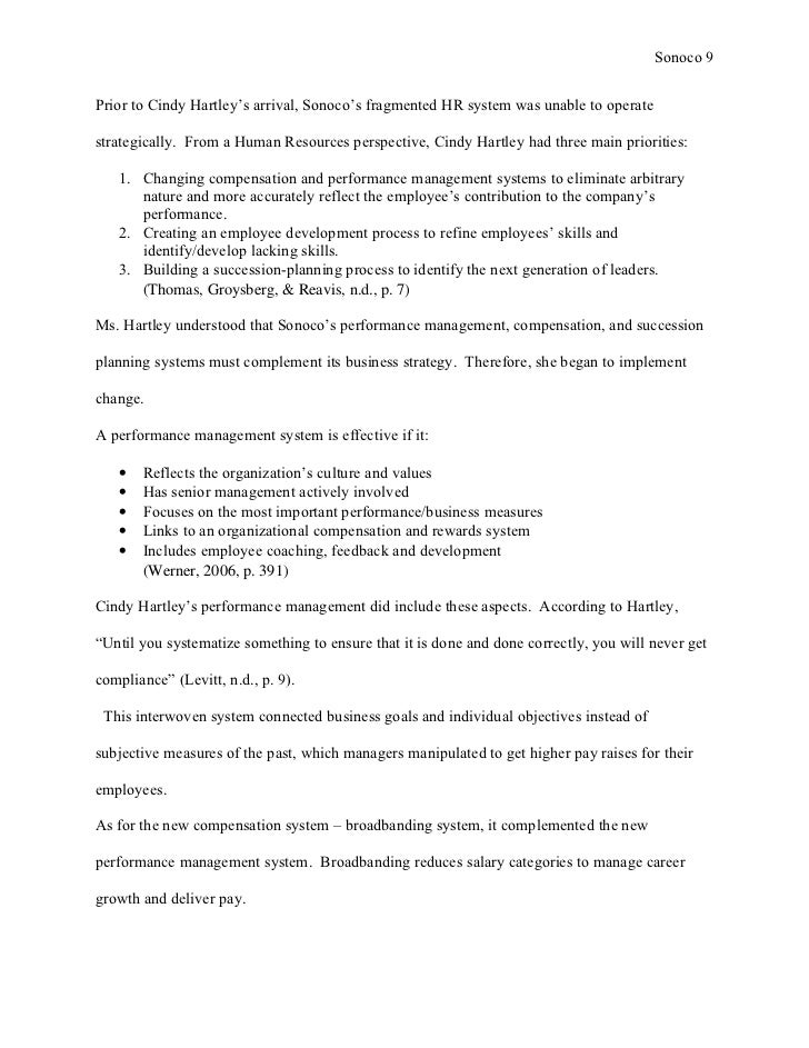 sonoco hr hartley Case synopsis 8 pages  through the sequence of changes introduced by cindy hartley, the sonoco case presents a good platform to analyse the challenges.