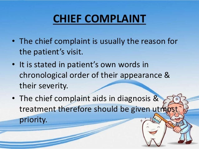 how to write a chief complaint