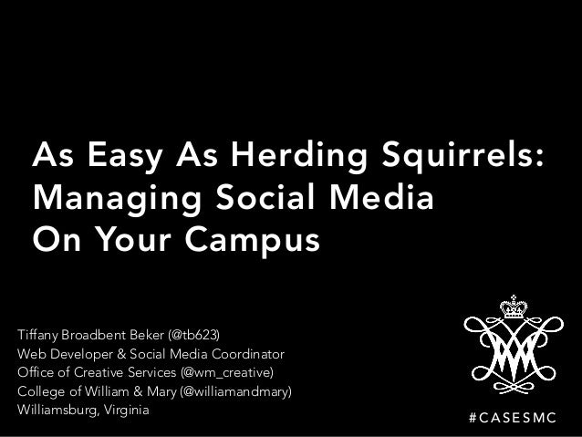 As Easy As Herding Squirrels: Managing Social Media On Your Campus Tiffany Broadbent Beker (@tb623)