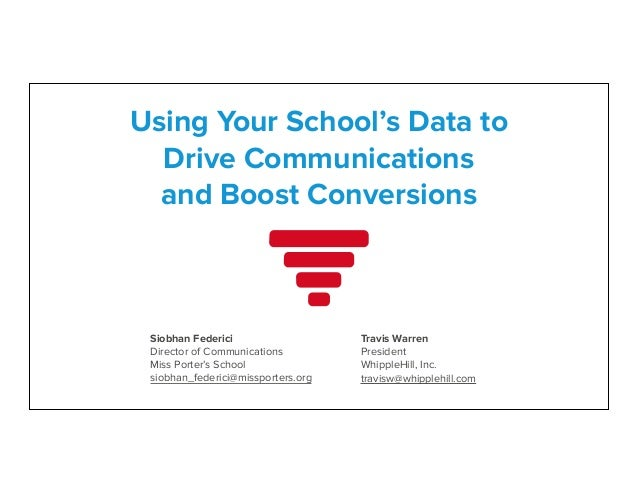 Using Your School's Data to  Drive Communications and Boost Conversions  Siobhan Federici Director of Communications Miss...