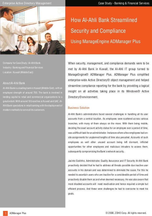 Case Study - Banking & Financial Services  Enterprise Active Directory Management  How Al-Ahli Bank Streamlined Security a...