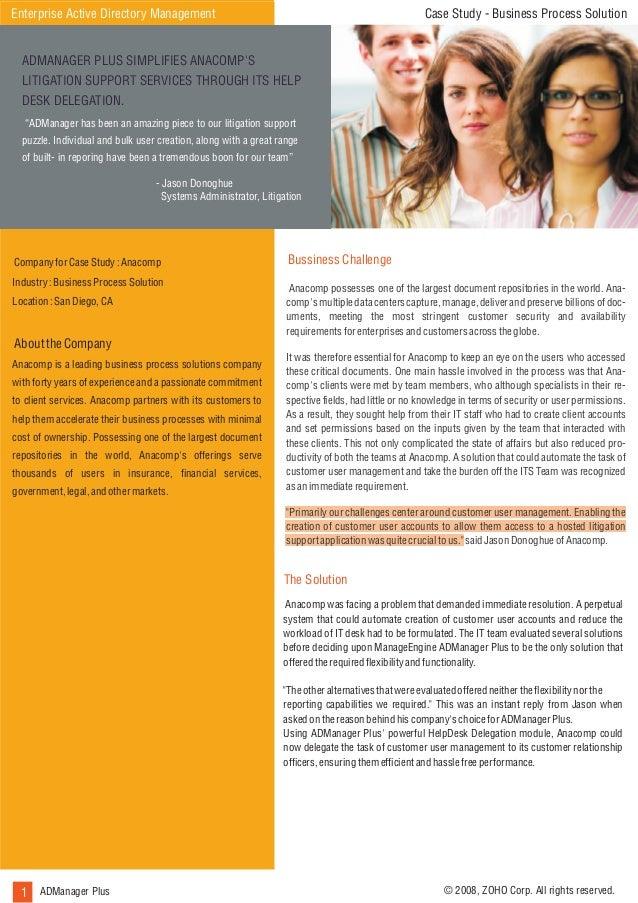 Case Study - Business Process Solution  Enterprise Active Directory Management ADMANAGER PLUS SIMPLIFIES ANACOMP'S  How Al...