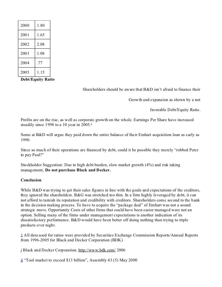 black and decker case study analysis