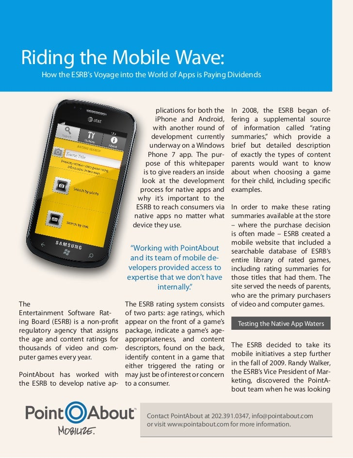 Riding the Mobile Wave:       How the ESRB's Voyage into the World of Apps is Paying Dividends                            ...