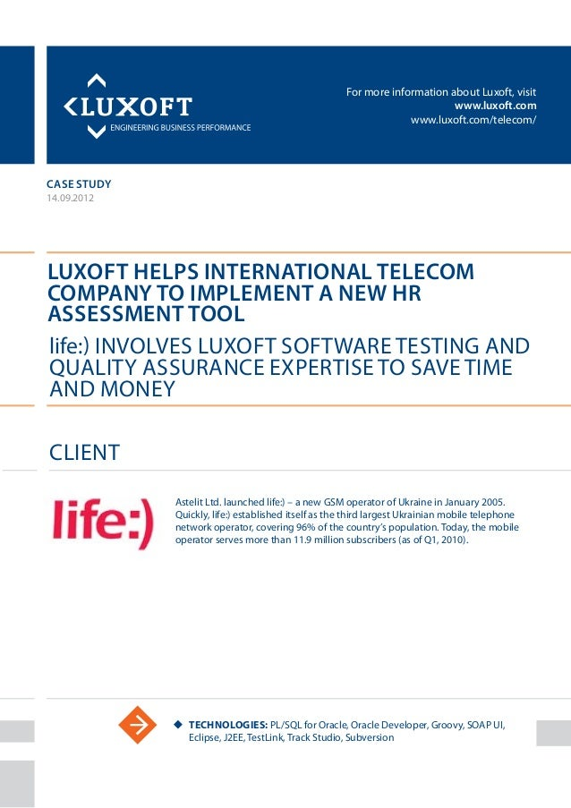 For more information about Luxoft, visitwww.luxoft.comwww.luxoft.com/telecom/case studyLuxoft Helps International TelecomC...