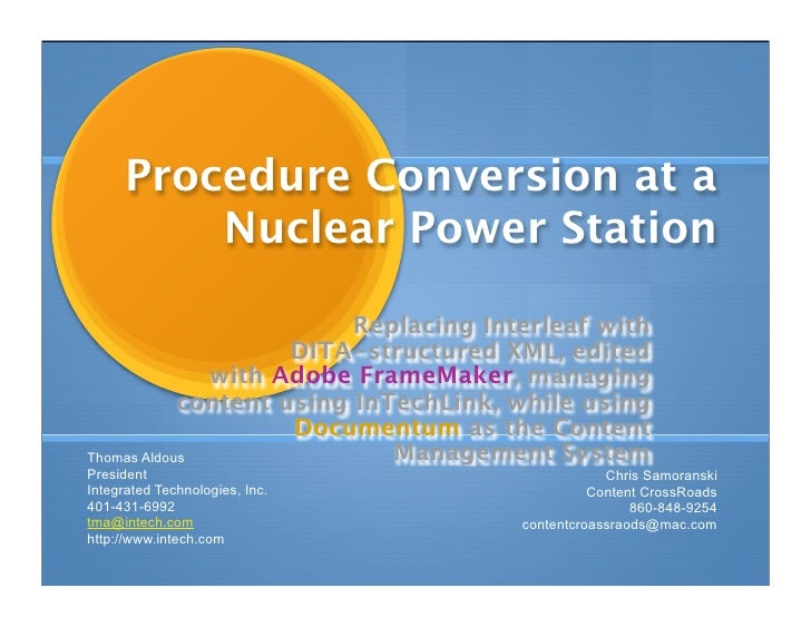 Procedure Conversion at a           Nuclear Power Station                            Replacing Interleaf with             ...