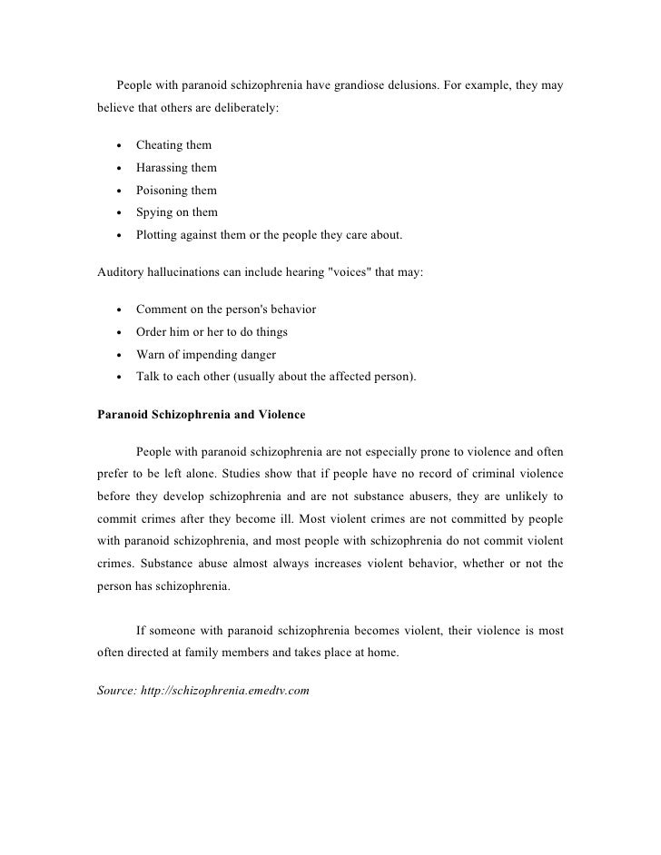 Nursing Case Study Paranaoid Schizophrenia