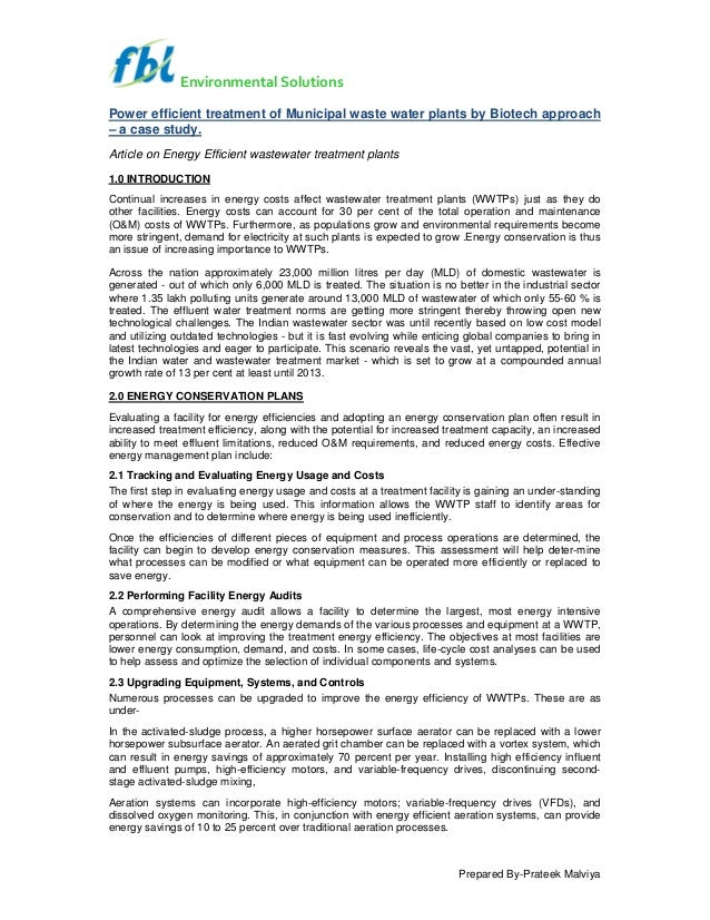 Environmental Solutions Power efficient treatment of Municipal waste water plants by Biotech approach – a case study. Arti...