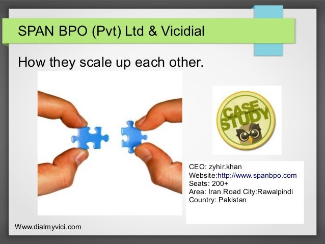 SPAN BPO (Pvt) Ltd & Vicidial How they scale up each other. CEO: zyhir.khan Website:http://www.spanbpo.com Seats: 200+ Are...