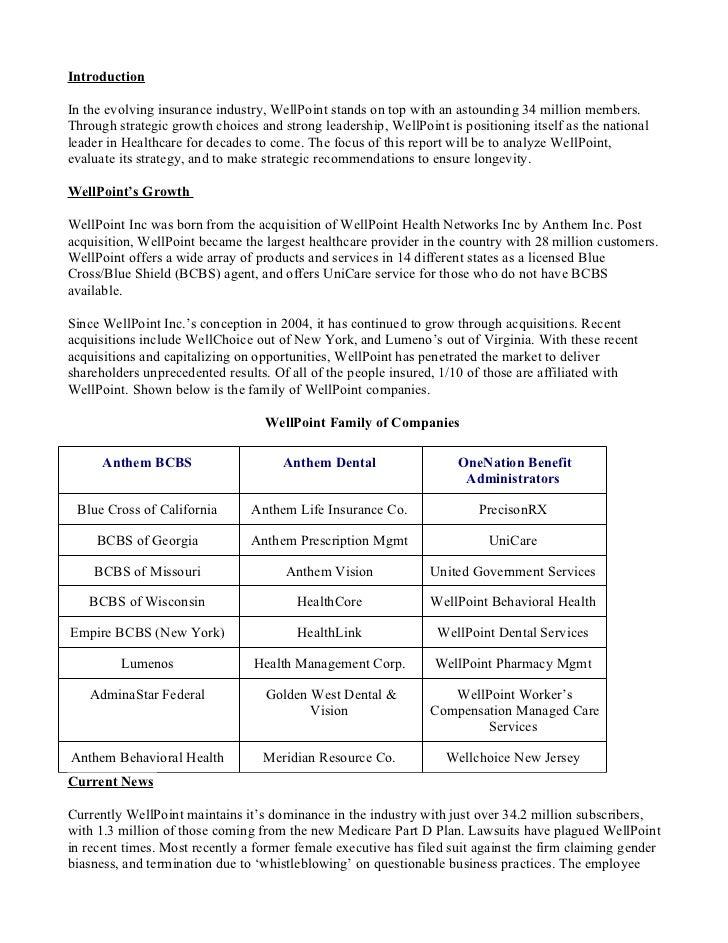 Case Study_ Wellpoint Insurance.doc