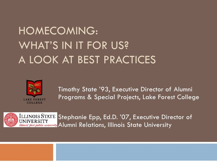 HOMECOMING:  WHAT'S IN IT FOR US? A LOOK AT BEST PRACTICES Timothy State '93, Executive Director of Alumni Programs & Spec...
