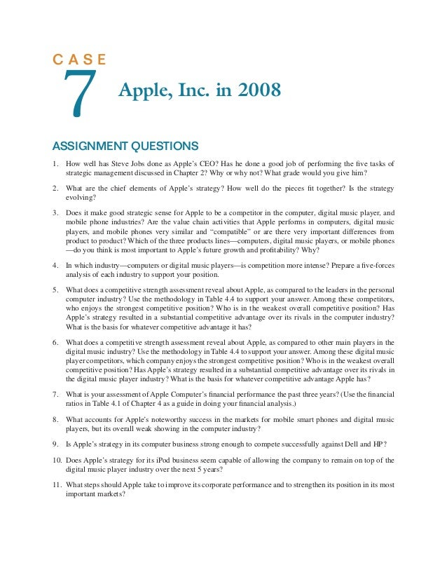 apple competitve strength assesment A what does a competitive strength assessment reveal about apple's domestic computer business, as compared to the leaders in the domestic computer.