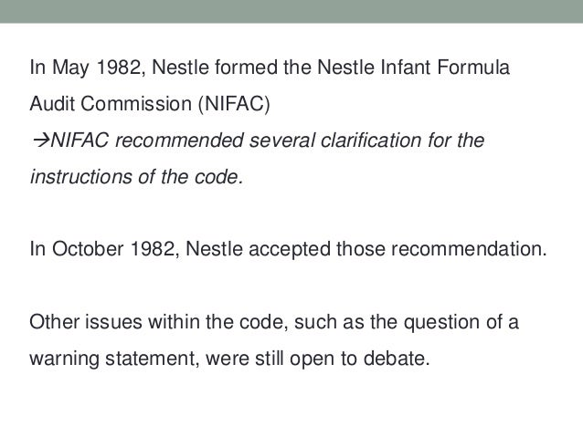 the nestl case Case 1-2 nestlé: the infant formula controversy largely on the intensive advertising and promotion of in-fant formula clever radio jingles extol the wonders of the.
