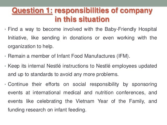 case 1 2 nestle the infant formula controversy Nestles case autosaved  milk products was about $15 billion nestle makes up about 40-50% of the  most effective effort was the nestle infant formula audit.
