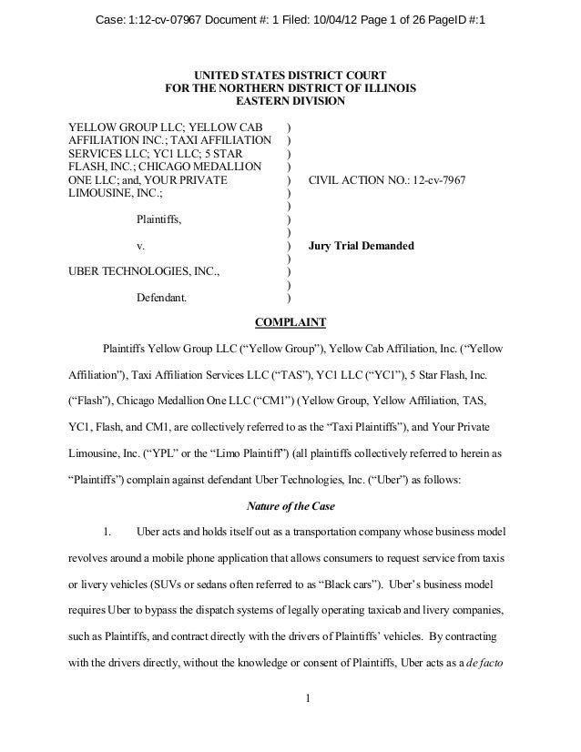 Uber Lawsuit Documents Case1 Yellow Cab V Uber