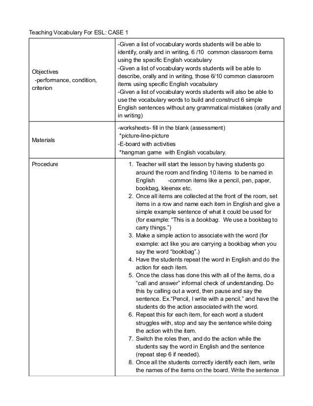 ELL Vocabulary Lesson 6-7th Grades