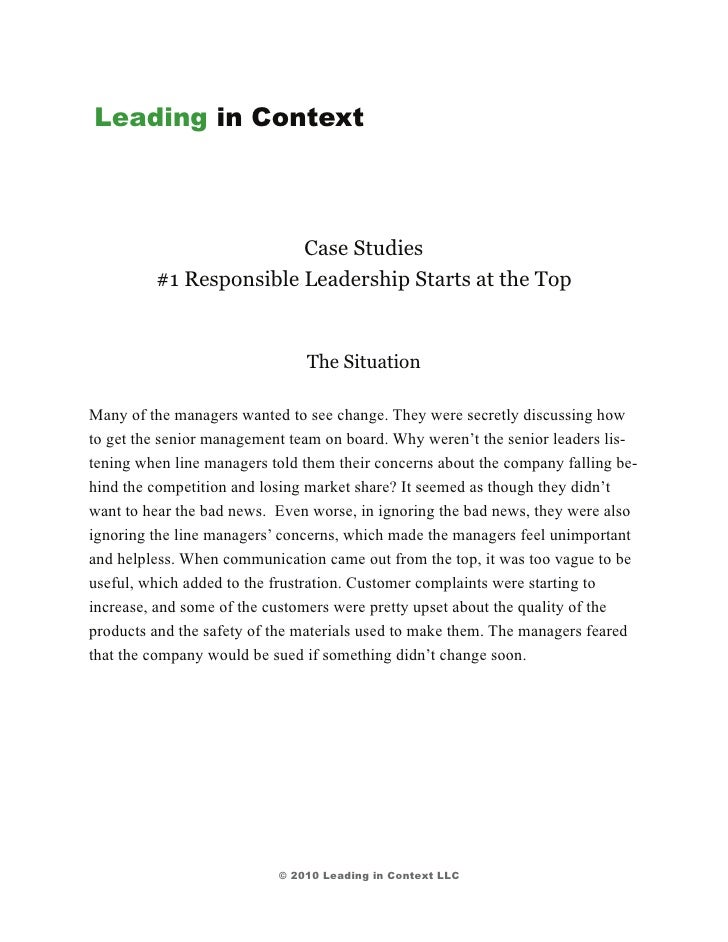 Leading in Context                        Case Studies         #1 Responsible Leadership Starts at the Top                ...
