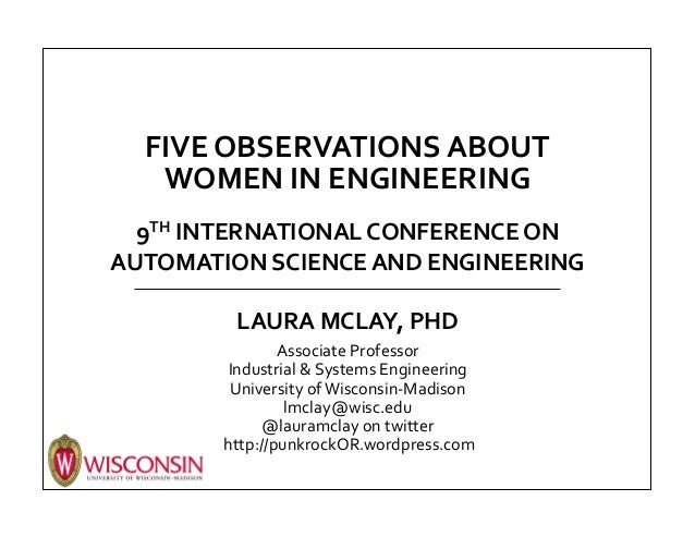 FIVE	   OBSERVATIONS	   ABOUT	    WOMEN	   IN	   ENGINEERING	   	    	    9TH	   INTERNATIONAL	   CONFERENCE	   ON	    AUT...