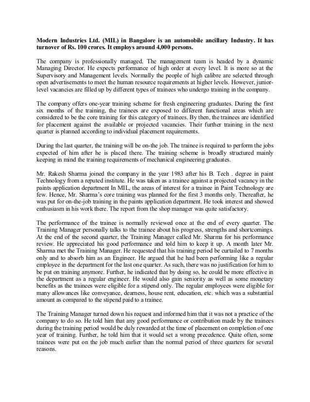 human resource management case study assignment pdf