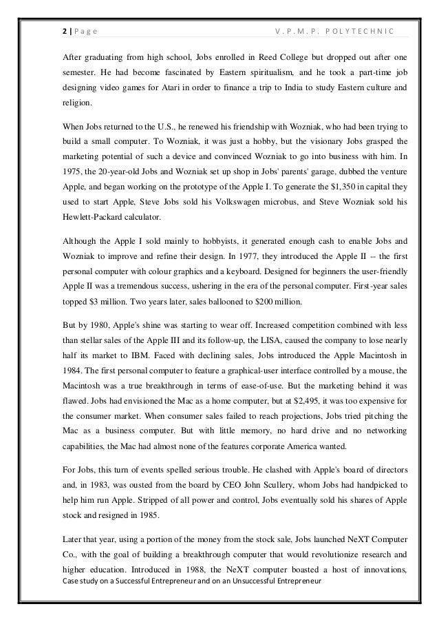 Case Study of an Entrepreneur Essay - 1462 Words