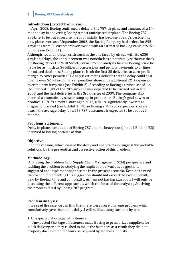 boeing 787 dreamliner swot analysis