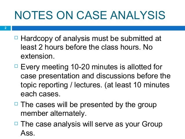 Case analysis format – Case Analysis