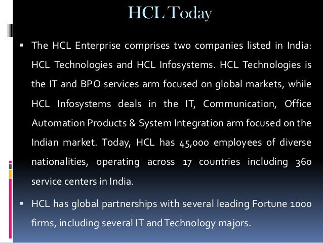 hcl technologies harvard case analysis Hcl is a $6 billion leading global technology and it enterprise comprising of two  companies listed in india – hcl technologies and hcl infosystems founded.