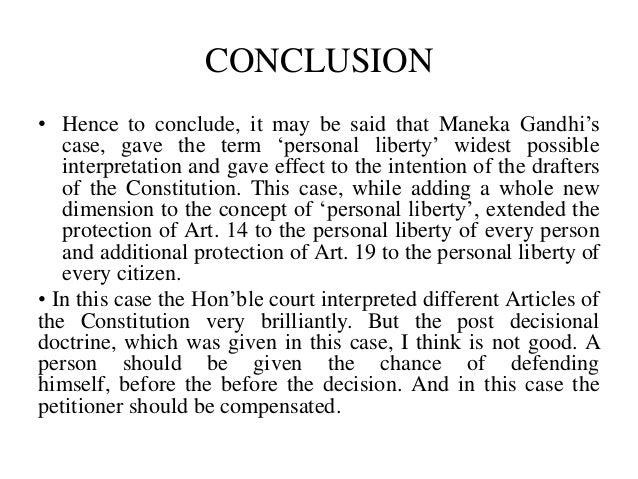 A Case Analysis: Of the Maneka Gandhi Case
