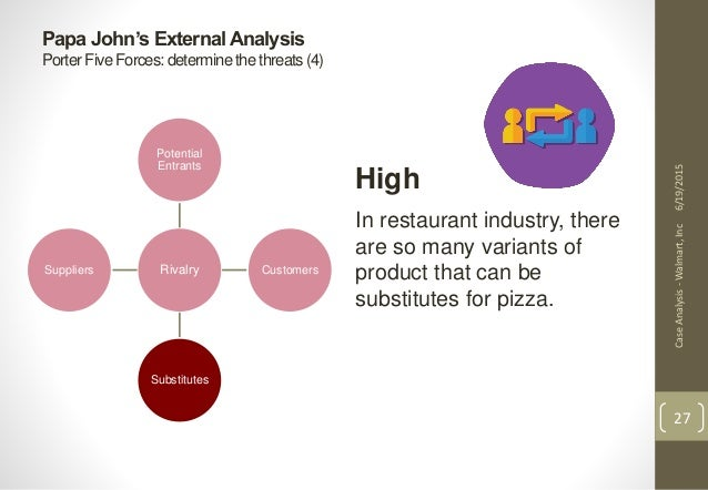 five forces model for papa john s Exhibit 1: papa john's pizza external environment 17  five forces the  rivalry among existing competitors in the pizza industry is high but papa john's  key.