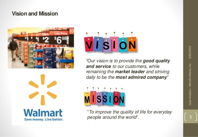 Mission, Vision and Value statements for Walmart