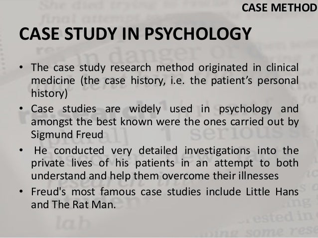psychology case study research paper In the most recent, fifth edition of his seminal book on case study research, yinn   a clinical case study is a narrative report by the therapist of what happened   case studies: self psychology, relational psychoanalysis, and interpersonal.