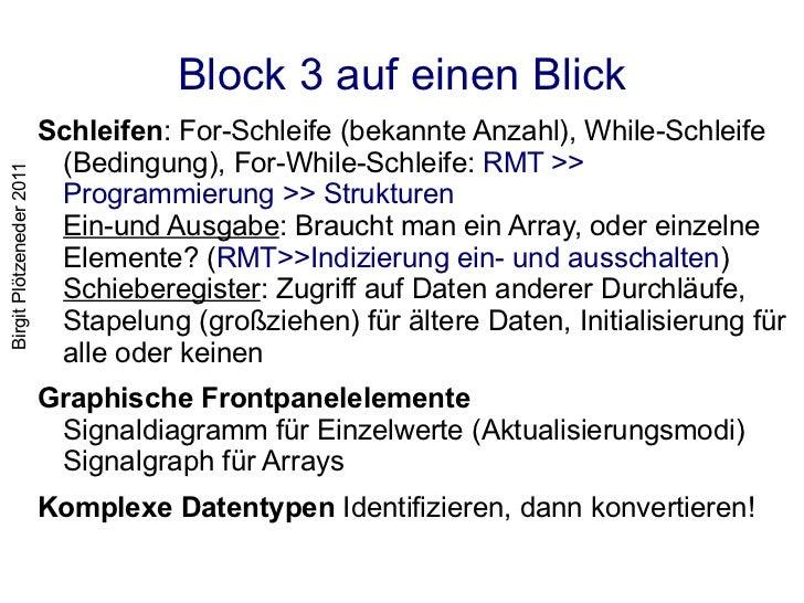 Block 3 auf einen Blick <ul><li>Schleifen : For-Schleife (bekannte Anzahl), While-Schleife (Bedingung), For-While-Schleife...