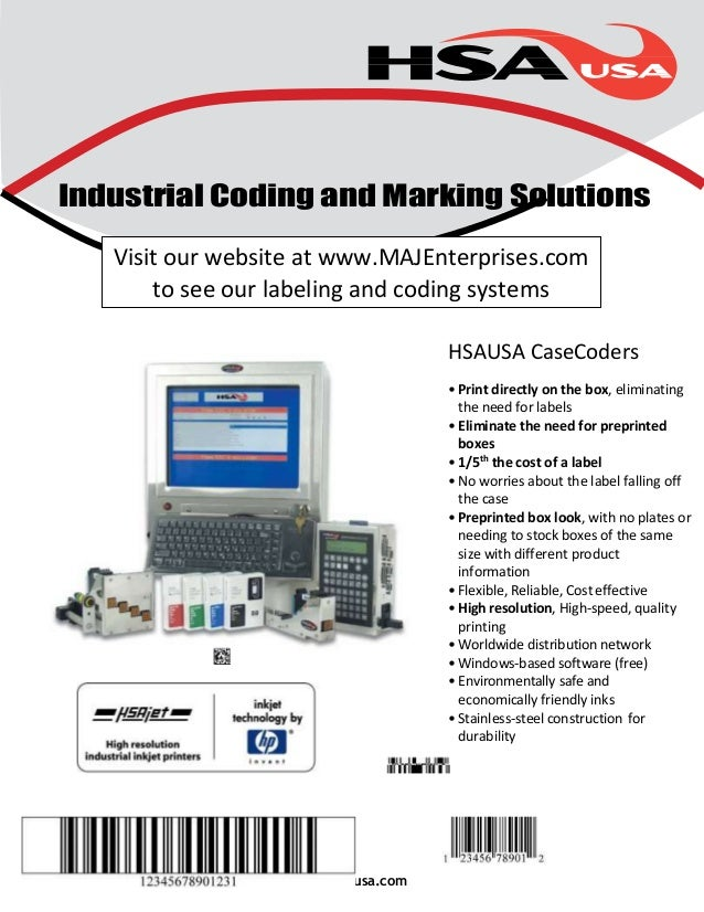 Industrial Coding and Marking Solutions  Visit our website at www.MAJEnterprises.com  to see our labeling and coding syste...