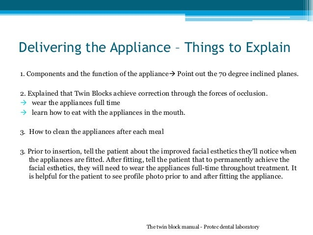 Delivering the Appliance – Things to Explain 1. Components and the function of the appliance Point out the 70 degree incl...