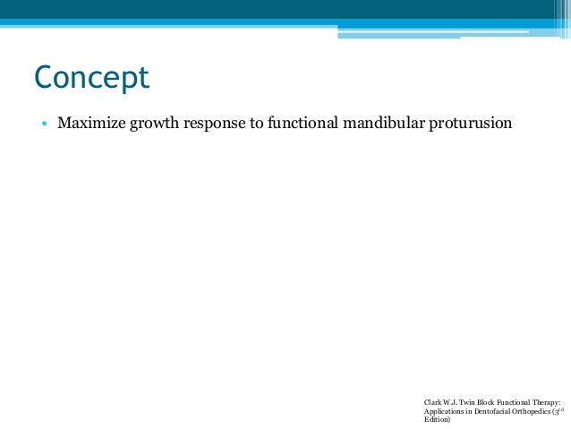 Concept • Maximize growth response to functional mandibular proturusion Clark W.J. Twin Block Functional Therapy: Applicat...
