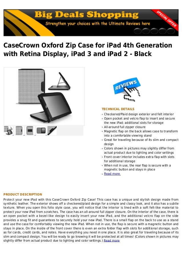 CaseCrown Oxford Zip Case for iPad 4th Generationwith Retina Display, iPad 3 and iPad 2 - BlackTECHNICAL DETAILSCheckered/...