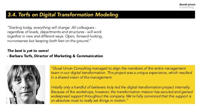 """3.4. Torfs on Digital Transformation Modeling """"Starting today, everything will change. All colleagues - regardless of leve..."""