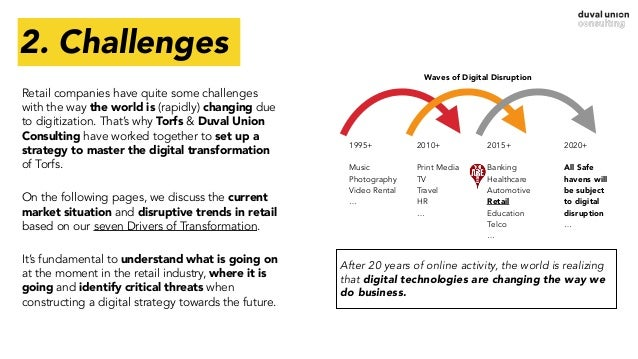 2. Challenges Retail companies have quite some challenges with the way the world is (rapidly) changing due to digitization...