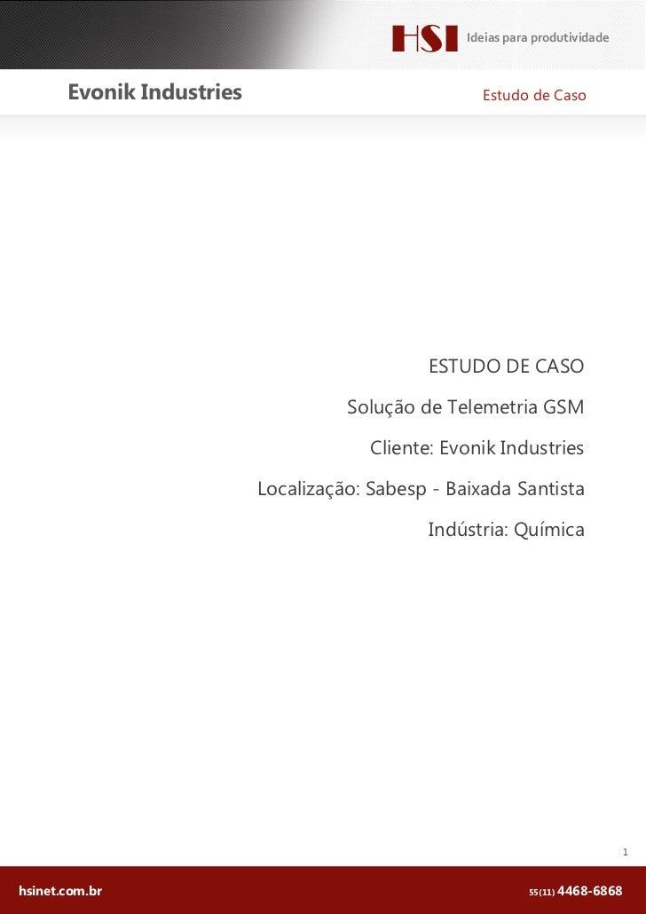 HSI      Ideias para produtividade       Evonik Industries                             Estudo de Caso                     ...