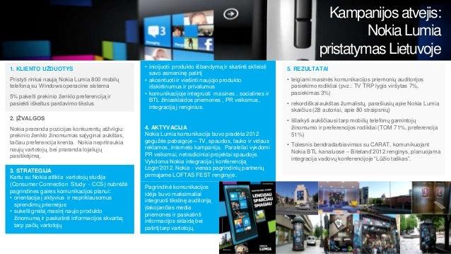 Kampanijos atvejis: Nokia Lumia pristatymas Lietuvoje 1. KLIENTO UŽDUOTYS Pristyti rinkai naują Nokia Lumia 800 mobilų tel...