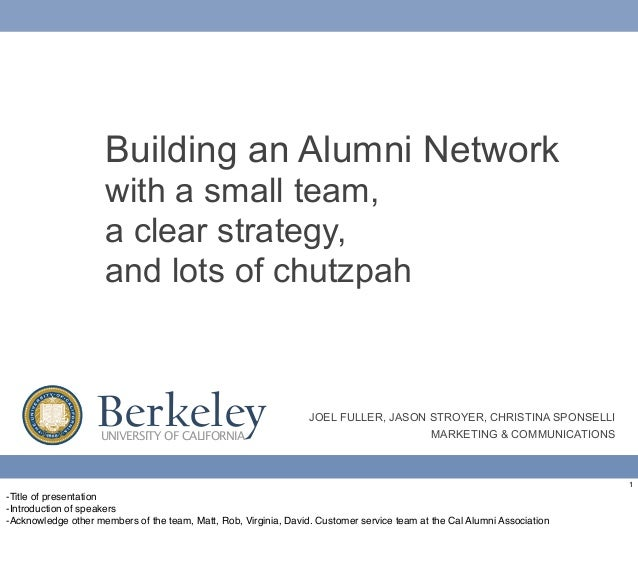 Building an Alumni Network                     with a small team,                     a clear strategy,                   ...