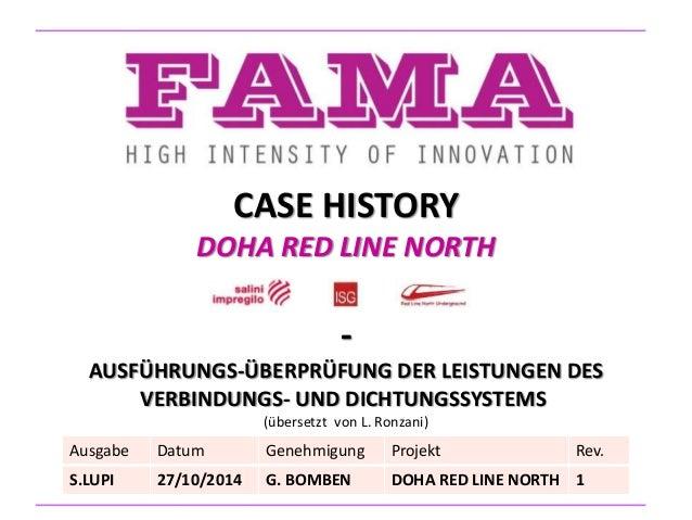 CASE HISTORY DOHA RED LINE NORTH - AUSFÜHRUNGS-ÜBERPRÜFUNG DER LEISTUNGEN DES VERBINDUNGS- UND DICHTUNGSSYSTEMS (übersetzt...