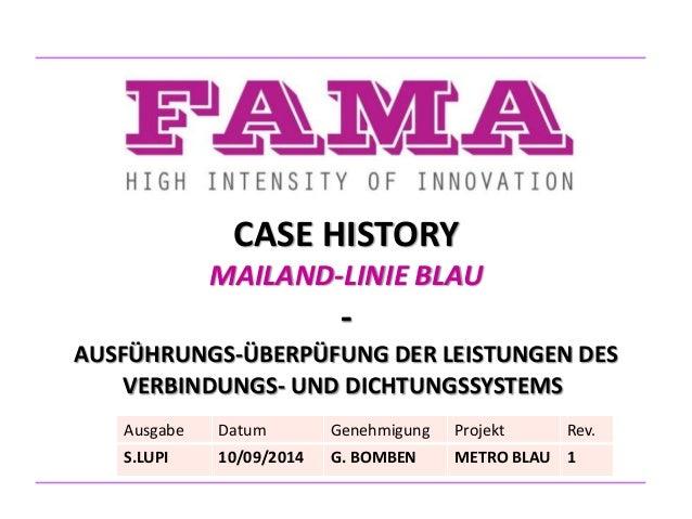 CASE HISTORY MAILAND-LINIE BLAU - AUSFÜHRUNGS-ÜBERPÜFUNG DER LEISTUNGEN DES VERBINDUNGS- UND DICHTUNGSSYSTEMS Ausgabe Datu...