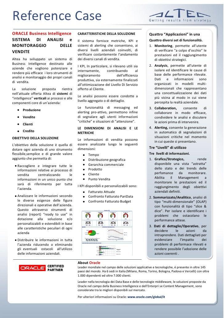 """Reference Case ORACLE Business Intelligence                  CARATTERISTICHE DELLA SOLUZIONE                     Quattro """"..."""