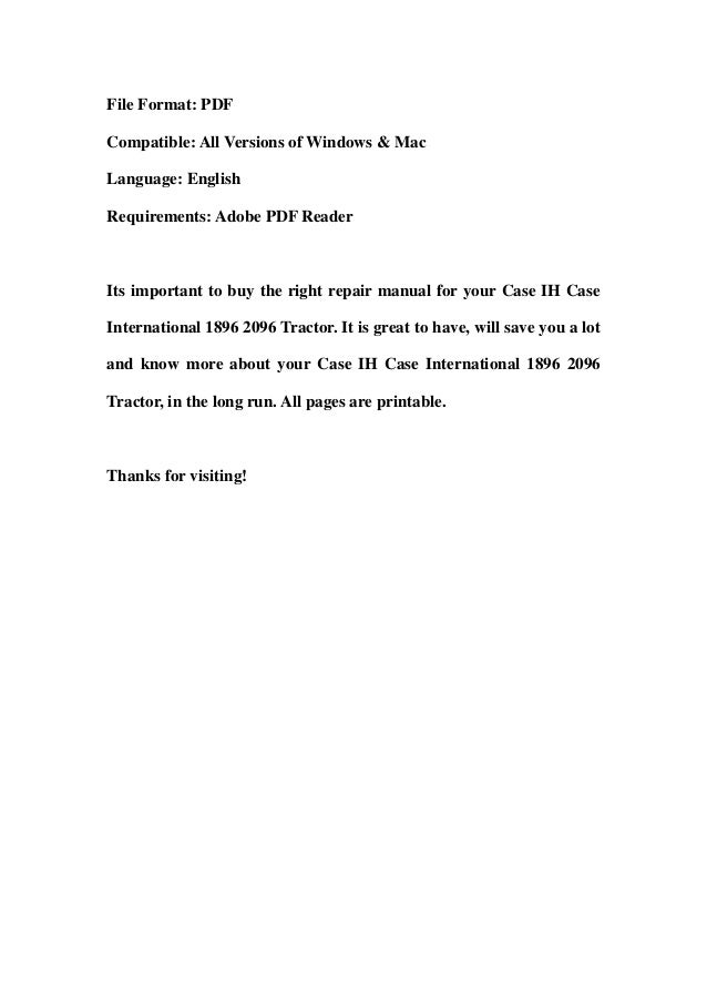 case ih case international 1896 2096 tractor service repair workshop case  ih wiring diagrams online on