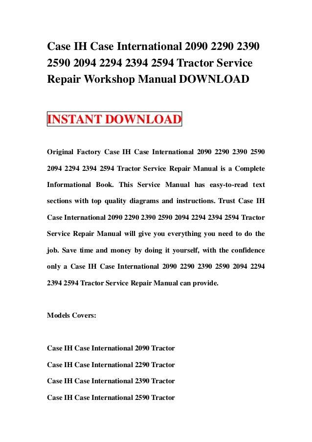 case ih case international 2090 2290 2390 2590 2094 2294 2394 2594 tr rh slideshare net Tractor Battery Wiring Diagram Garden Tractor Ignition Wiring Diagrams